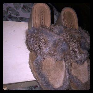 Coach shoe suede fur clogs size 9 b